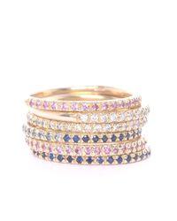 XISSJEWELLERY - Metallic Gold & Blue Sapphire Eternity Ring - Lyst
