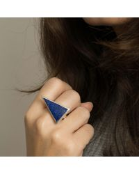 KIMSU - Blue Triangolo Ring Silver - Lyst