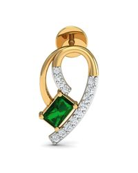 Diamoire Jewels - Multicolor Hand-carved 14kt Yellow Gold Prong Emerald Earrings With Diamonds - Lyst