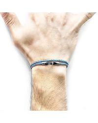 Anchor & Crew - Multicolor Blue Dash Liverpool Silver And Rope Bracelet for Men - Lyst