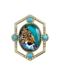Spencer Fine Jewelry - Blue Leopard Pendant And Brooch - Lyst