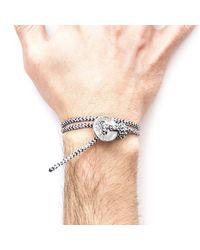 Anchor & Crew - Multicolor White Noir Lerwick Silver And Rope Bracelet for Men - Lyst