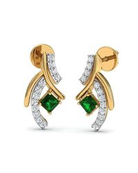 Diamoire Jewels - Metallic Hand-carved 10kt Yellow Gold Earrings Set With Premium Diamonds And Emeralds - Lyst