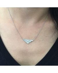 Kaych Fine Jewellery - Metallic Wing Necklace White Gold - Lyst