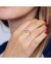 ARTEMER - Champagne Diamond Cluster Ring With Pink Sapphires And Ta - Lyst