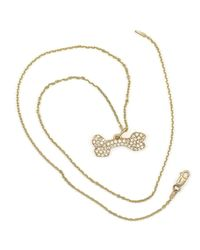 Donna Pizarro Designs - Metallic 14kt Pave Diamond Dog Bone Necklace - Lyst