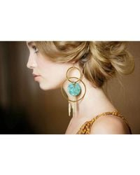 Devon Leigh - Multicolor Fringe Turquoise Double Circle Earrings - Lyst