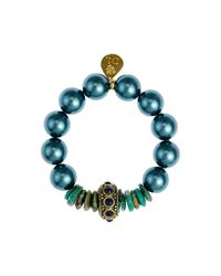Devon Leigh - Multicolor Shell Pearl Stretch Bracelet - Lyst