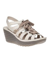 Fly London | Yito Wedge Sandal Off White Leather | Lyst