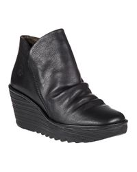 Fly London | Yip Wedge Boot Black Leather | Lyst