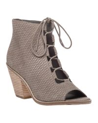 Eileen Fisher | Gray Slew Taupe Woven Leather Lace-up Bootie | Lyst