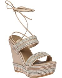 Stuart Weitzman | Soutash Natural Leather Sandal Wedge | Lyst