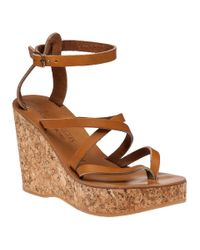 K. Jacques | Brown Cunegonde Tan Leather Wedge Sandal | Lyst