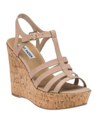 Steve Madden | Pink Nalla Taupe Leather Wedge Sandal | Lyst