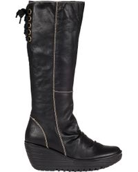 Fly London | Yust Wedge Boot Black Leather | Lyst