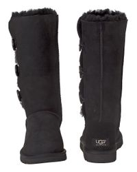 Ugg | Bailey Button Triplet Boot Black Suede | Lyst