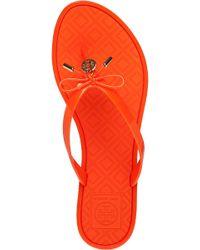 Tory Burch - Orange Bow-Detail Flip-Flops - Lyst