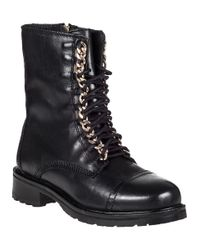 Steve Madden - 2-chain Lace-up Boot Black Leather - Lyst