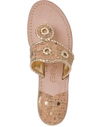 Jack Rogers - Metallic Nappa Valley Thong Sandal Gold/cork - Lyst