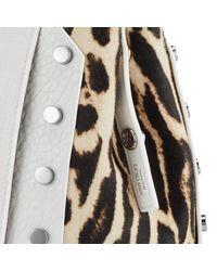 Jimmy Choo - Multicolor Lockett/m Optic White Grainy Leather And Snow Leopard Print Pony Handbag - Lyst