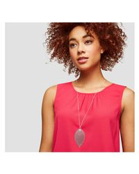 Joe Fresh - Metallic Long Silver Tone Leaf Pendant Necklace - Lyst
