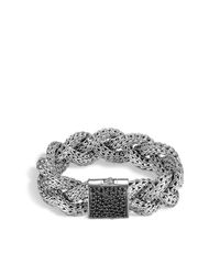 John Hardy | Metallic Braided Chain Bracelet With Black Sapphire | Lyst