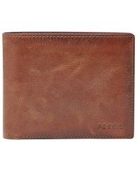 Fossil - Brown Derrick Large Coin Pocket Bifold Wallet for Men - Lyst