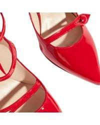 Karen Millen | Red Mary Jane Triple Strap Court Shoes | Lyst