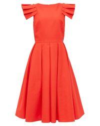 Ted Baker - Orange Arieal Frill Detail Midi Dress - Lyst