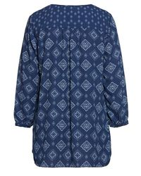 NYDJ - Blue Tie Neck Printed Top - Lyst