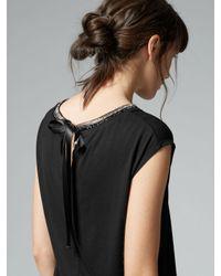 Warehouse | Black Embellished Neck T-shirt | Lyst