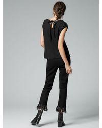 Warehouse - Black Embellished Neck T-shirt - Lyst