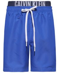 a9071bdbcb Calvin Klein - Blue Intense Power Double Waistband Swim Shorts for Men -  Lyst
