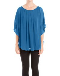 Max Studio - Blue Angel Sleeve Pleated Blouse - Lyst