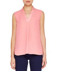 Ted Baker | Pink Giannah Sleeveless Drop Hem Top | Lyst