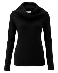 Pure Collection - Black Cashmere Cowl Neck Jumper - Lyst
