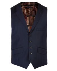 Ted Baker | Blue Geniew Birdseye Wool Tailored Waistcoat for Men | Lyst
