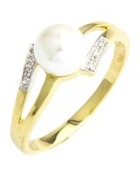 John Lewis - Metallic A B Davis 9ct Gold Double Open Diamond And Pearl Ring - Lyst