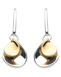 Kit Heath | Metallic Double Petal Sterling Silver 18ct Gold Plated Drop Earrings | Lyst