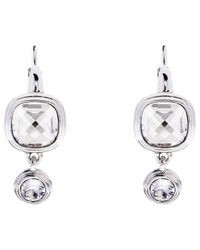 Karen Millen | Metallic Milano Swarovski Crystal Double Drop Earrings | Lyst