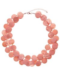 John Lewis - Pink Beaded Disc Layered Necklace - Lyst