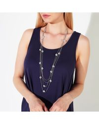 John Lewis - Metallic Long Layered Clear Bead Necklace - Lyst