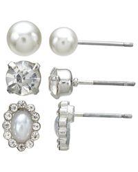 John Lewis   Metallic Faux Pearl And Cubic Zirconia Stud Earrings   Lyst