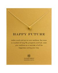Dogeared | Metallic 14k Gold Plated Sterling Silver Happy Future Origami Crane Necklace | Lyst