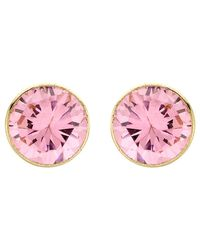 Ib&b | Pink 9ct Gold Round Cubic Zirconia Stud Earrings | Lyst