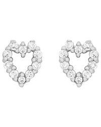 Ib&b   Metallic 9ct White Gold Small Heart Stud Earrings   Lyst