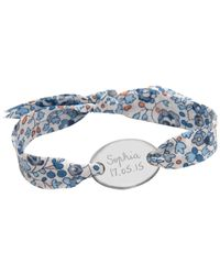 Merci Maman | Blue Sterling Silver Personalised Oval Liberty Bracelet | Lyst