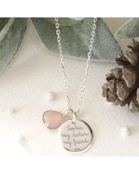 Merci Maman | Metallic Personalised Gemstone Disc Pendant Necklace | Lyst