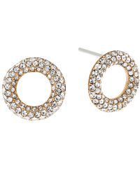 Michael Kors | Metallic Pave Crystal Circle Stud Earrings | Lyst