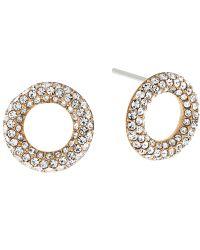 Michael Kors - Metallic Pave Crystal Circle Stud Earrings - Lyst